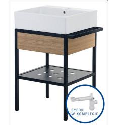 Umywalka stawiana na blacie + konsola łazienkowa z szufladą 56x40 + syfon space saver Temisto Deante (CDTD6U4S)