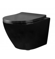 Miska WC podwieszana bezrantowa z deską slim Carlo Mini Rimless Flat Black Połysk (REA-C8936)