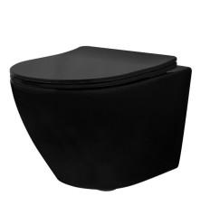 Miska WC podwieszana bezrantowa z deską slim Carlo Mini Rimless Black (REA-C8489)