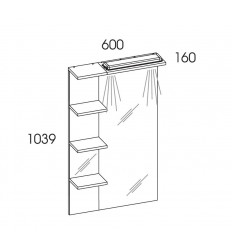 Lustro z półkami i panelem Led 60 White Elita (974754)